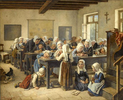 A Breton Infants School - Jules Trayer (1824 – 1909, French)