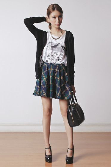 Chicwish Skirt, The Orphan's Arms Top, The Accessory Report Necklace, Emoda Shoes, Louis Vuitton Bag