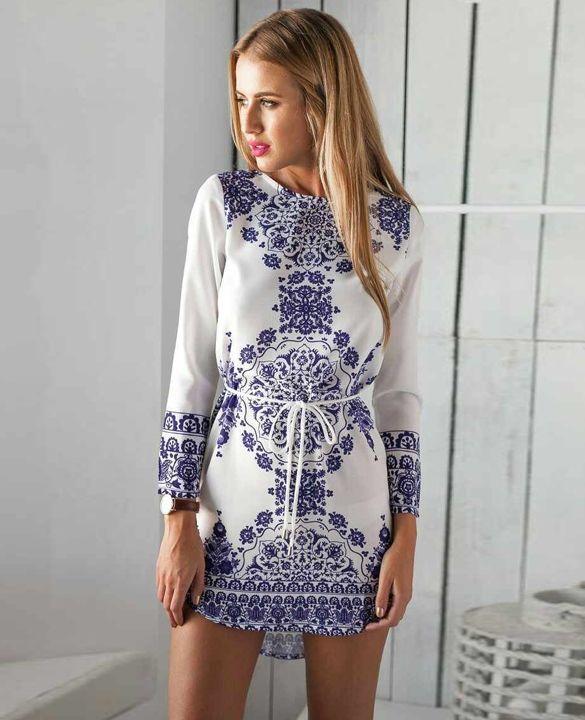 Elegant Ladies Women Splicing Color Porcelain Print 3/4 Sleeve Irregular  Hem Mini Dress With