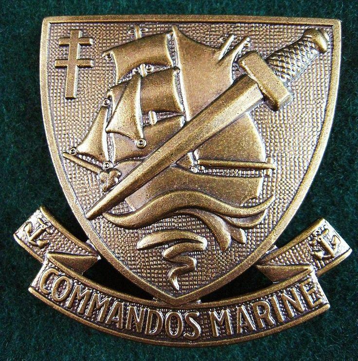 ORIGINAL ELITE FRENCH COMMANDOS MARINE BERET BADGE SPECIAL FORCES