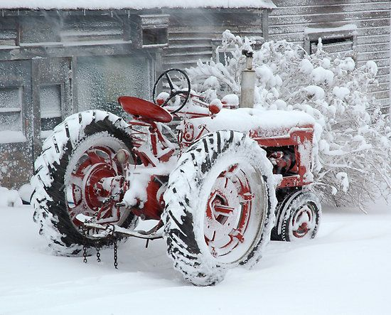 Dependable and Faithful Farmall Tractor by Jodie Keefe    In front of the old grey barn at my farm, Waverly, MN.    The old, dependable Farmall Tractor endures another snow storm and stands ready for the next task.