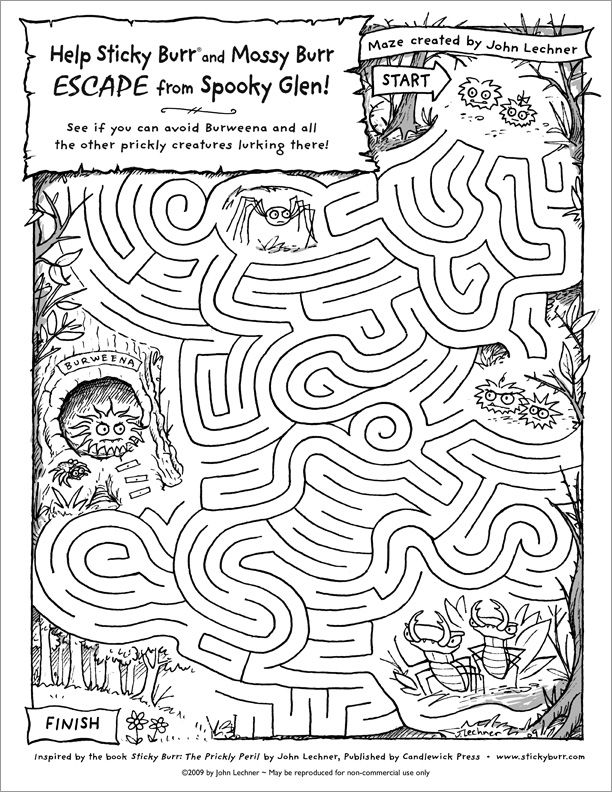 Print this maze to help Sticky Burr and Mossy Burr get out of the forest!