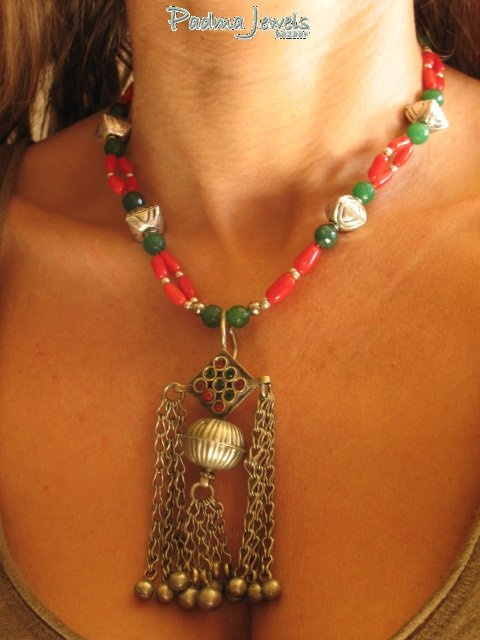 Lunga green agathe, coral, indian silver Kuchi pendant by PadmaJewels, via Flickr
