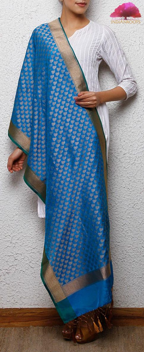 Blue handwoven Banarasi pure silk stole with zari work