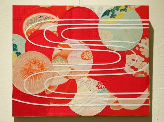 Japanese collage original art mixed media - utsuroi by riemandala, antique kimono and rice paper