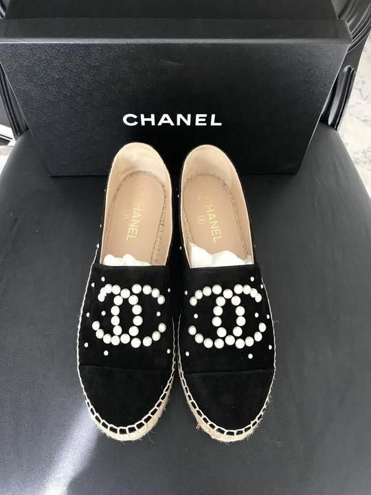 bbe4368f0 CHANEL Black Suede CC Pearl Espadrilles 40 #WomensShoulderbags ...