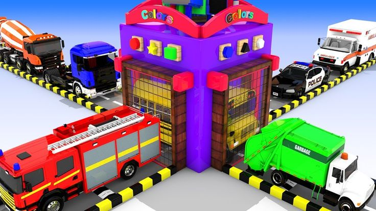 Colors for Children to Learn with Street Vehicles Shapes with Lot of Bal...