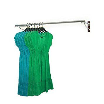 2ft Long Wall Mounted Clothes Rail Chrome Garment Hanging Rack