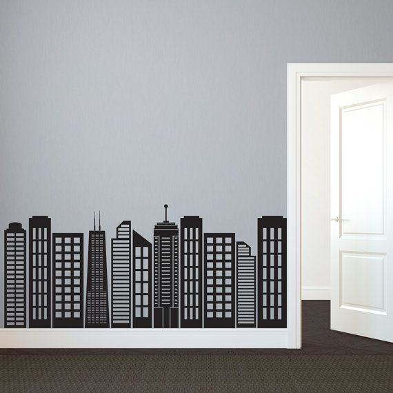 Simple geometric city skyline silhouette wall decal for Cityscape bedroom ideas