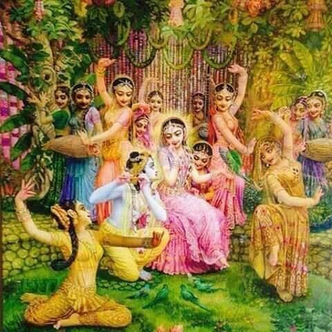 Radha is enchanted by Krishna's flute
