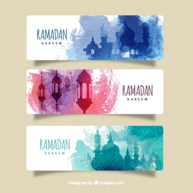 Colored watercolor splashes ramadan banners Free Vector http://www.freepik.com/free-vector/colored-watercolor-splashes-ramadan-banners_863852.htm