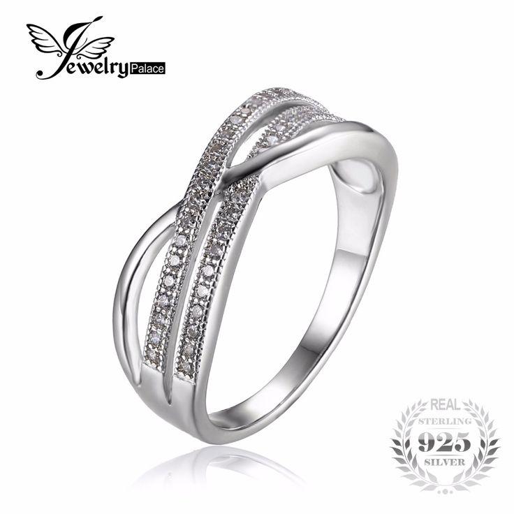Jewelrypalace unendlichkeit knoten kubikzirconia anniversary versprechen hochzeit band ring 925 sterling silber schmuck neue design geschenk