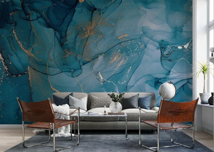Alcoholic Ink Wallpaper Abstract Marble With Gold Strip Etsy In 2020 Blue Marble Wallpaper Marble Wallpaper Removable Wallpaper