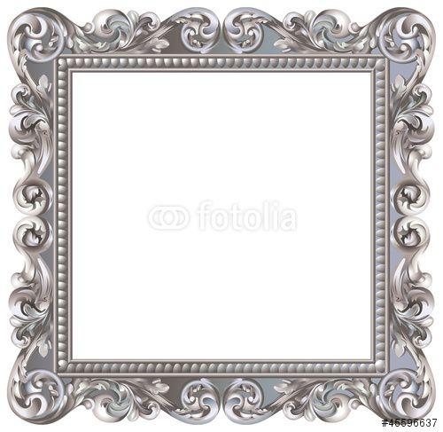 Vecteur : Cadre baroque carré argenté                                                                                                                                                                                 Plus