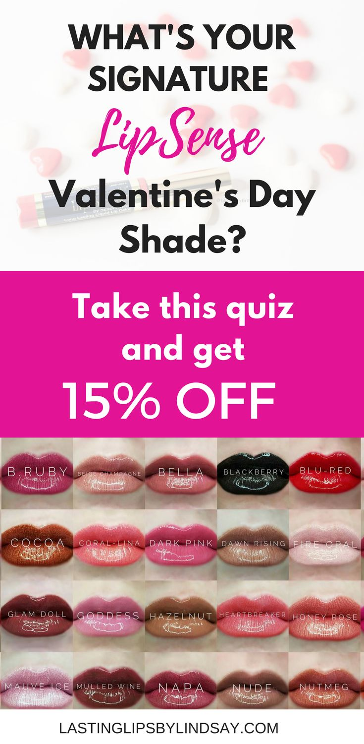 Wondering what your signature LipSense Valentine's Day color is? Take this quiz and get 15% OFF your next order! LipSense is a long-lasting lip color (4-18hrs) that is waterproof, smude-proof, kiss proof, vegan, non-gmo. Shop more colors at www.lastinglipsbylindsay.com | Insta @lastinglips_by_lindsay | Bella | Blu-Red | Be Mine | Sweetheart Pink | Pink Champagne | Rose Gold Shimmer ShadowSense | liquid lipstick | makeup | lipgloss | red lips | pink Lips | SeneGence | Praline Rose | Bombshell