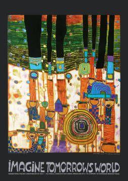 Imagine Tomorrows World (orange Version) - nach 944 blue blues von Künstler Friedensreich Hundertwasser, Blau, Welt, Derb, Erde, Nicht, Blaue, Blauer, Blaues