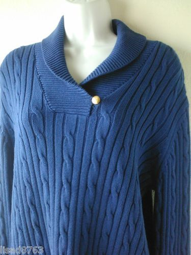 CHAPS RALPH LAUREN SZ XL Sweater 100% Cotton Shawl Collar Blue Sweater Cableknit
