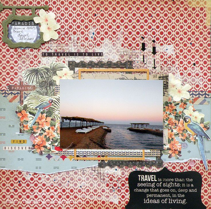 to travel is to live - Scrapbook.com - Layer die cuts, patterned paper and more from Kasiercraft's Check In Collection for a fabulous vacation/travel layout.