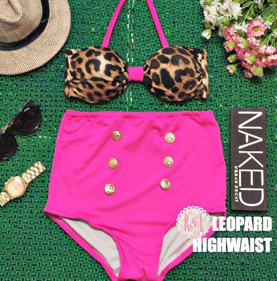 Leopard Highwaist - Retro Vintage Pin Up Handmade Pink Brown Animal Print High Waist Bikini Swimsuit Swimwear