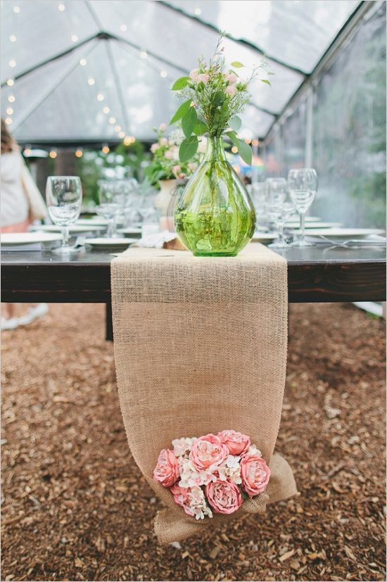 burlap table runner with flower bouquet http://www.weddingchicks.com/2013/10/16/rainy-day-wedding-2/
