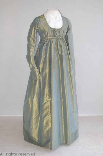 Dress: ca. 1800-1810, silk, linen. OPEN FASHION ID 32032