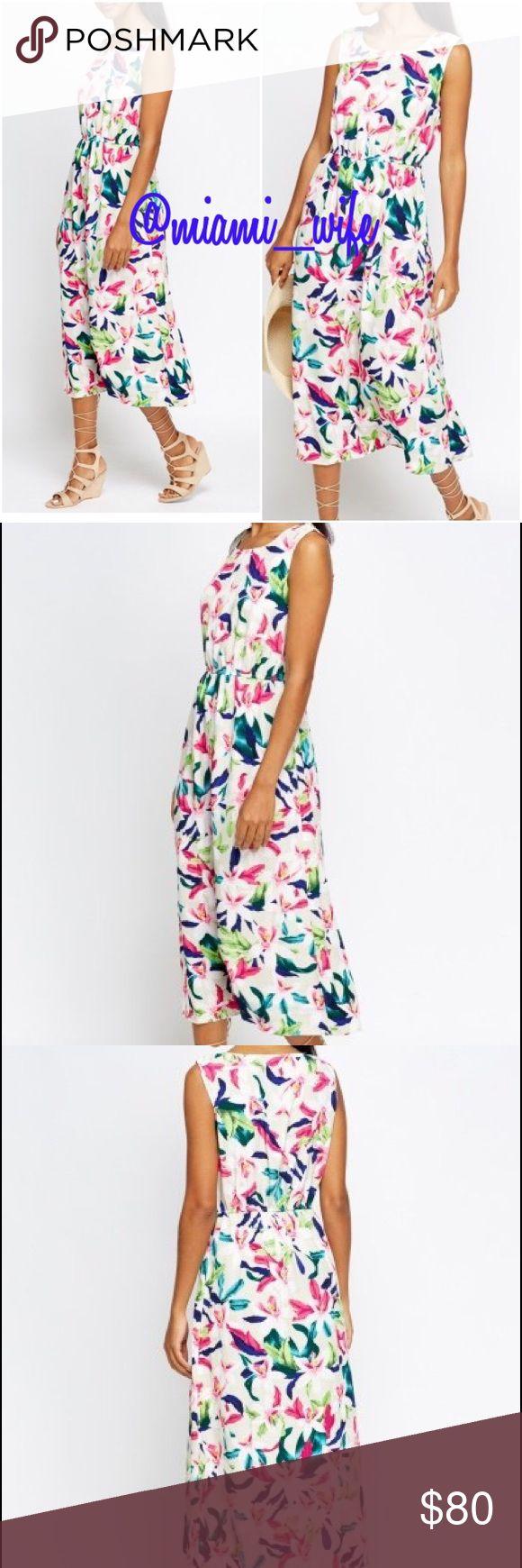 "🆕Floral summer midi dress Floral Summer Midi Dress - 100% Viscose - L: 46"" (Shoulder To Hem) - Model Wears Size 8 - Elasticated To Waist Dresses Midi"
