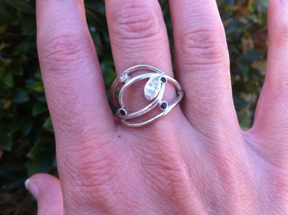 Organic Sapphire moissanite engagement ring by MelissaTysonDesigns