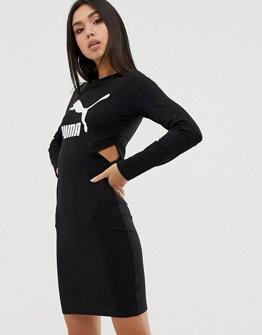 Adicolor Three Stripe Mini Dress In Black Black