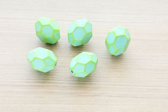Oval Geometric  Hand Painted Wood Beads - 5 pcs of Light Blue outlined with Yellow faceted wooden beads - wood supplies - 28 mm