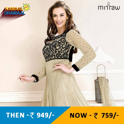 Cream embroidered georgette semi stitched salwar with dupatta.Shop Now- http://bit.ly/1SIXhFB