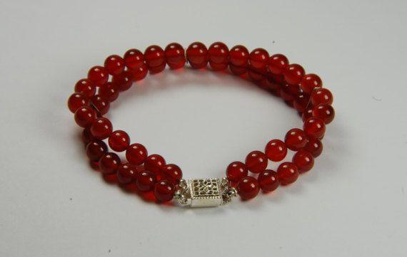 Red Orange Bracelet Double Strand Bracelet Gemstone Bracelet