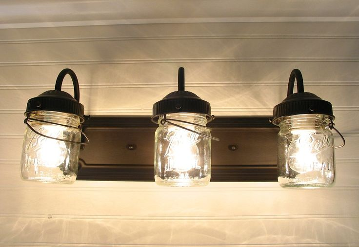 Jar Vanity Lights : Vintage CLEAR Canning Jar TRIPLE Vanity Sconce by LampGoods - want this for our master bath re ...