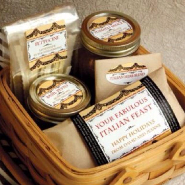 Creative way to deliver a meal to a new mommy, sick friend or just because. Italian food gift basket.