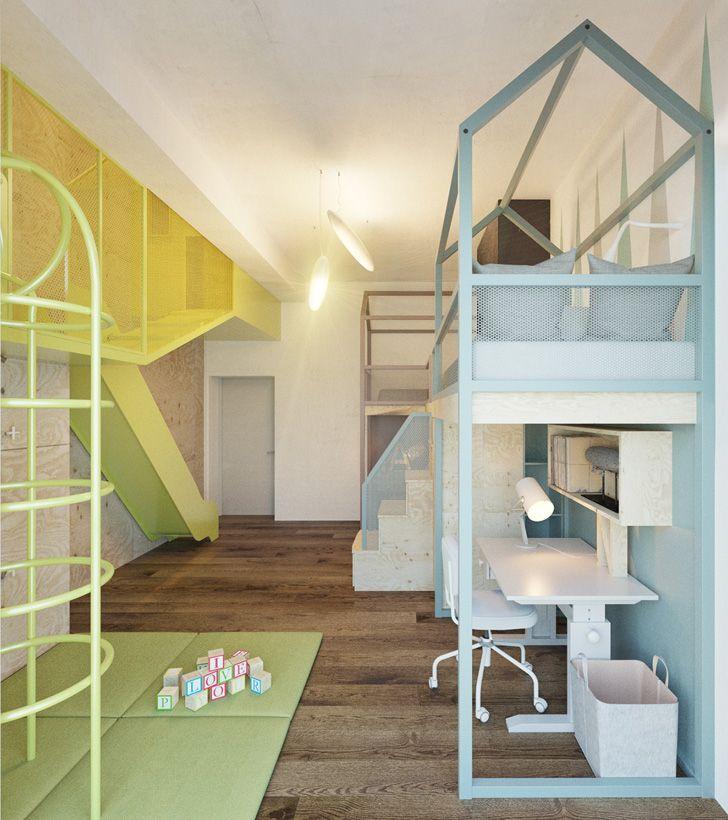 Habitación Infantil De Diseño ¡Con Tobogán Incluido