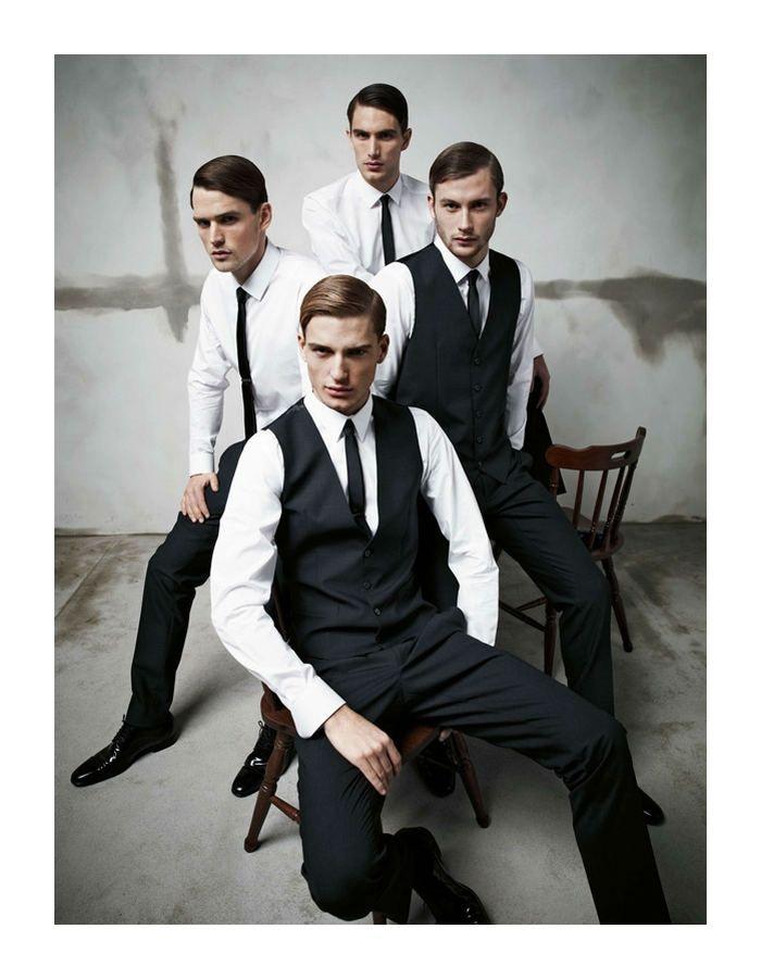 Arthur Kulkov, Sam Webb, Antonio Navas & Julien Quevenne by Mariano Vivanco for Dolce & Gabbana Fall 2011