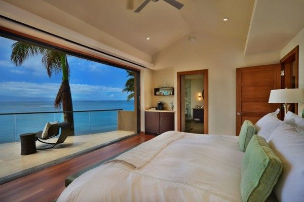 Architecture:Beach House Design Ideas With Natural Elements Magnificent Modern Beach House Design Bedroom Ideas White Bed With White And Green Pillow Large Glass Window Laminate Wood Floor Black Chair And Table Brown Storage Wooden Door White Table Lam
