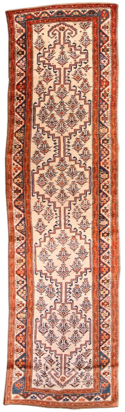 A Hamadan runner BB4599 - by Doris Leslie Blau.  An early 20th century Hamadan antique runner, the cream field having four stepped geometric motif medallions ...