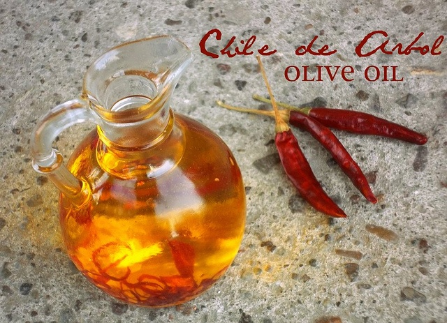 Chile de Arbol infused olive oil - use dried chiles from the garden! for xmas gifs for friends!