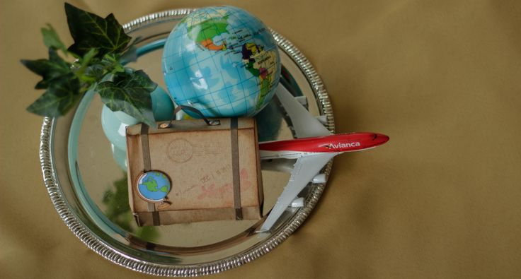 Travel theme party centerpiece. Fiesta viajes centro de mesa