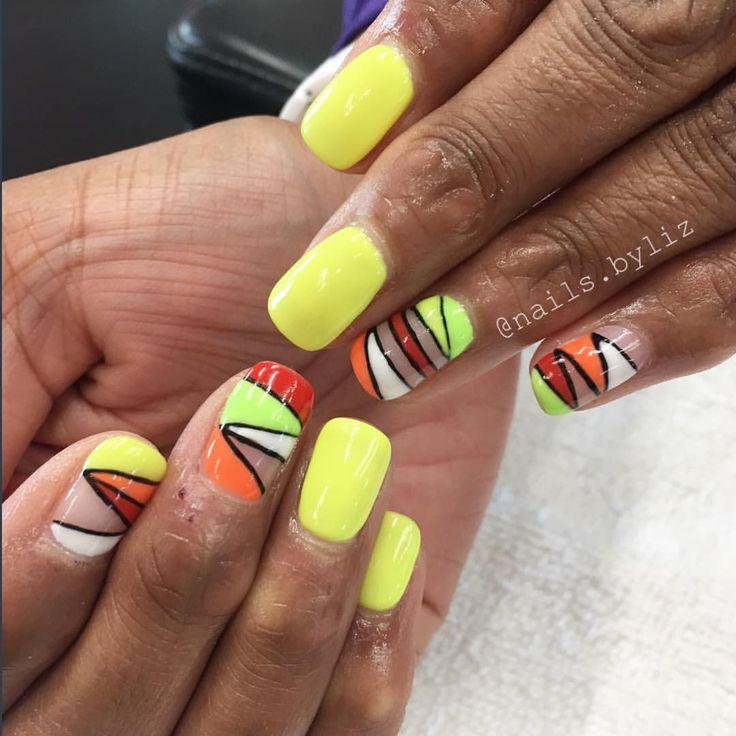 "117 Likes, 2 Comments - Liz Henson (@nails.byliz) on Instagram: ""Loving these brights  . . . . #nails #gelnails #nailstagram #naturalnails #neonnails #summer…"""