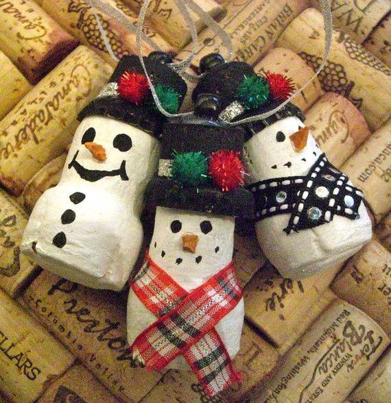 Champagne cork snowmen ornaments