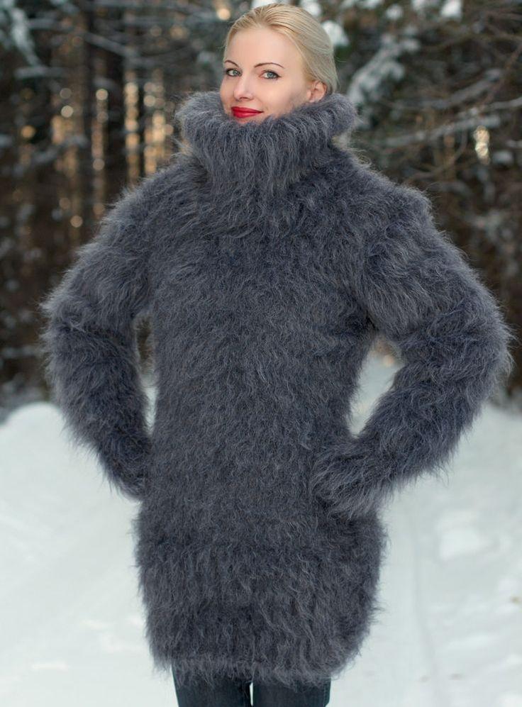 New Hand Knit Mohair Sweater Fluffy GRAY GRAPHITE Turtleneck Dress by SUPERTANYA #SUPERTANYA #TurtleneckMock