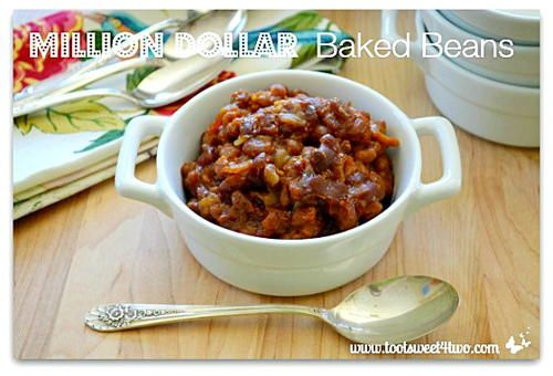 """""""Deliciously sweet and sticky, Million Dollar Baked Beans are made with a whole pound of thick-sliced bacon! Using canned baked beans, which cuts the preparation time, cooking time and baking time down considerably."""""""