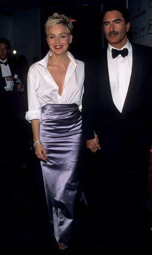 Sharon Stone in her husband's Gap shirt and a Vera Wang skirt - 1998