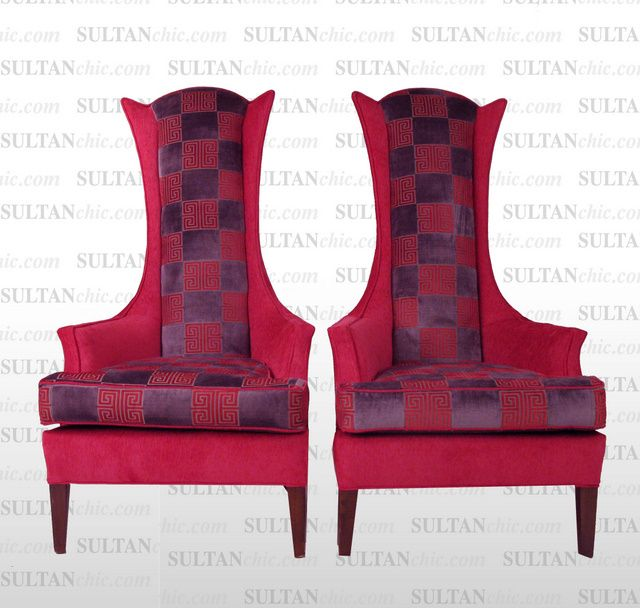 Think Pink at SULTANCHIC.com  Live your life Artfully! All pieces featured here are one of a kind creations of artisan designer Albert Leon Sultan founder of WWW.SULTANCHIC.COM Please inquire if you'd like to purchase any piece featured here or to hire Albert to design your home.  #midcentury #retro #vintage #upholstery #wingchair #upcycle #couture #furniture #art #design #interiordesign #home #love #greekkey #pink #sultanchic #chic #fashion #hotpink #highbackchair #osborneandlittle