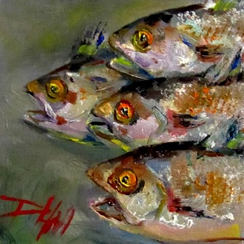 Up Stream, fish art, painting by artist Delilah Smith