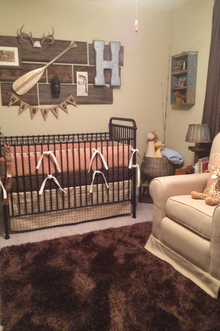 Rustic Nursery Decor With Orange Diamond Custom Crib