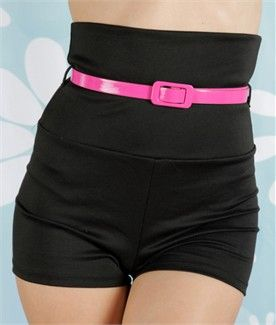 Broad Minded Clothing - Black Knit High Waist Pinup Shorts with Trendy Neon Pink Belt