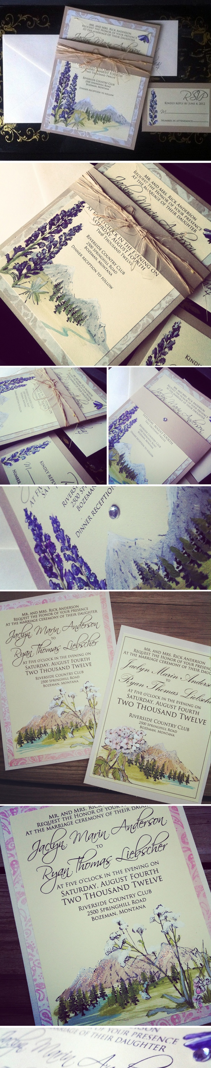 Hand painted mountain wedding invitations 33 best