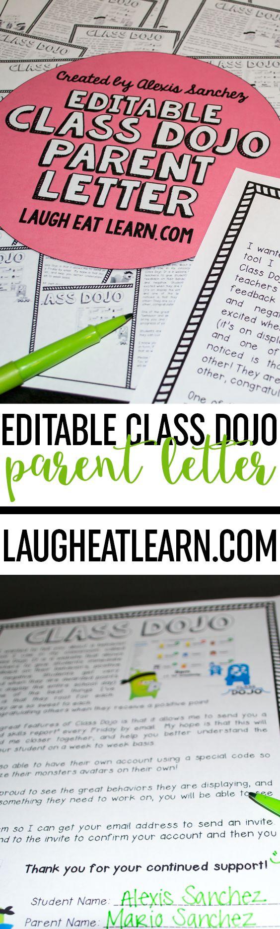 Editable Class Dojo Letter Freebie Class dojo, Letter to